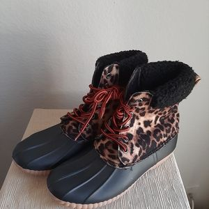 Report rain boots leopard print rubber boots